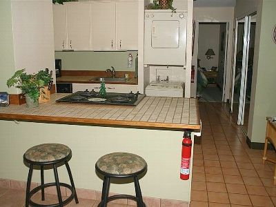 A fully equipped kitchen, including free washer and dryer!