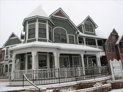 Winter view of Towne Terrace. The second-story porch belongs to this unit.