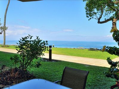 View out to the ocean from your spacious lanai with a table and seating for 4
