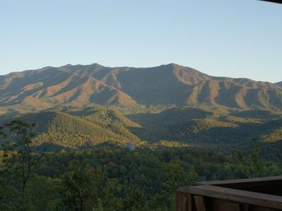 The VIEW!  260 degree view of mountains with Mt. LeConte as centerpiece!