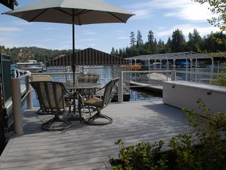 Patio adjacent to the dock. - Lake Arrowhead house vacation rental photo