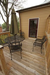Deck and porch entrance into kitchen. Picturesque. Great view of area. May 2012