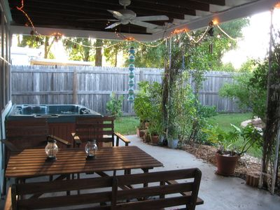 St Petersburg house rental - Outdoor living space with spa to relax after a hard day...on vacation :)