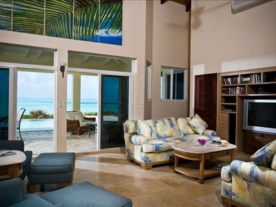 The well appointed living room, with views of the Caribbean Sea