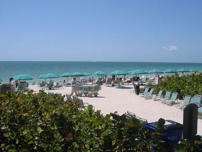 Bonita Bay's private beach with chaise lounges, chairs & umbrellas all provided.