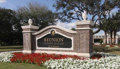 Entrance to Reunion Resort.  Representative of property landscaping.