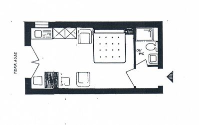 Layout of double studio apartment