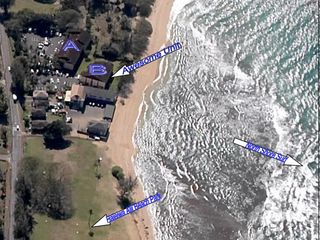 Haleiwa condo photo - Aerial showing building proximity to ocean.