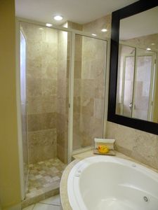 Master bath with separate shower & Jacuzzi tub