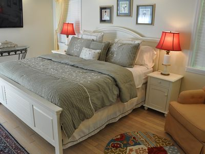 "Downstiars Master Bedroom with King Bed, 50"" TV and Private Bath"