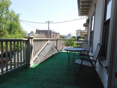 Partial view of the city from front deck