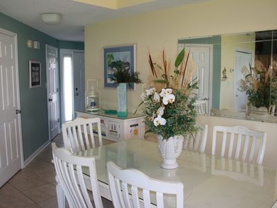Dining area with entry view
