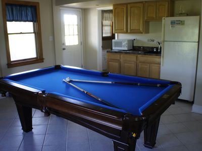 New pool table bought in 2012. Notice we have a 2nd full sz fridge, wetbar.