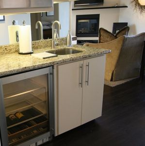 Downstairs Kitchenette with Wine Refrigerator & Microwave