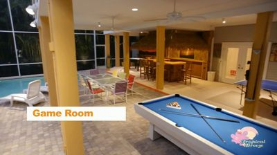 Game Area around Private Heated Pool