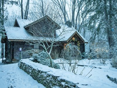 Winter Wonderland_Private Log Cabin on the Delaware River Water Gap Catskill