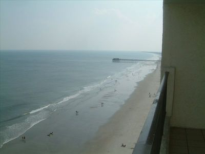 looking at the beach from the balcony