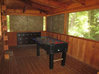 Gatlinburg cabin photo - Screened deck with foosball table