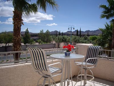 Las Vegas house rental - balcony with mountain and Strip view