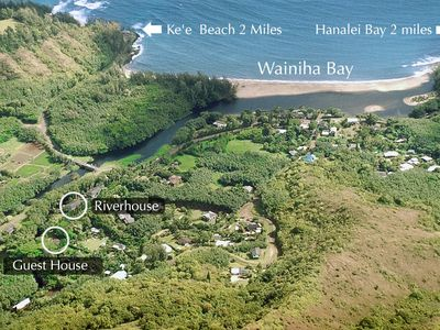 River Estate - Aerial image with the homes circled and showing the beach nearby.