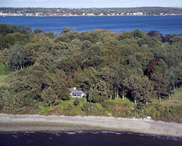 Bristol, RI Beachfront cottage from the air