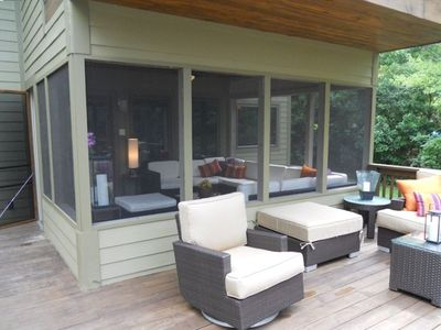 The Screened in Porch Provides a Separate Place to Relax