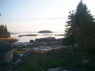View looking out to Andrews Island and the Deer Isle Thoroughfare at low tide.