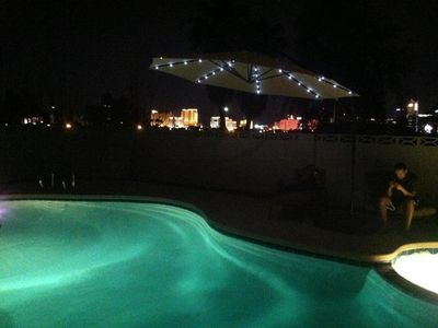 Beautiful Vegas home with  views of strip, outside barbecue and table and chairs