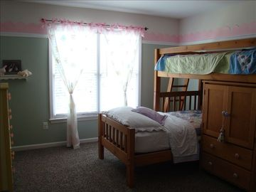 Fun bunks for children/additional guests. Walk-in closet with own lg bathroom.