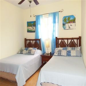 Bavaro apartment rental - Second Bedroom with 2 Queen Sized Beds, Ceiling Fan, Air Conditioning Unit