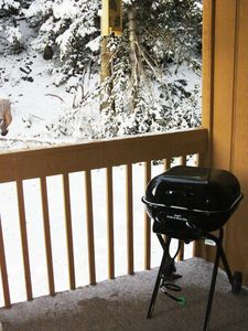 New gas grill on the private deck