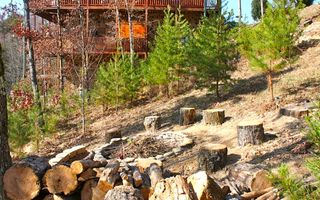 Pigeon Forge cabin photo - The Firepit with solar lighted pathway/steps up to the cabin. View of mountain!