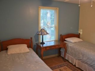 Brewster house photo - Twin beds in second bedroom featuring cool sea colors.