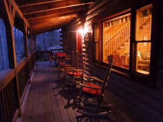Maggie Valley cabin photo - Creekside Hideaway at dusk