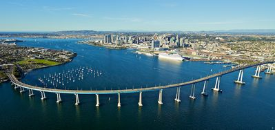 Drive  the bridge from San Diego to our famous island and beach of Coronado.