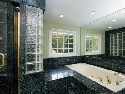 Master bath with garden tub and separate shower, toilet and bidet!