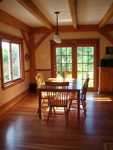 Bright Dining Room w/ mountain and garden views; 2d table seats 12+ easily