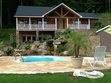 Guntersville Lake estate rental - Guntersville Lake Swiming pool waterfall from lake side