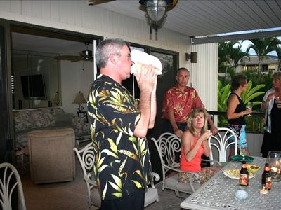 Oh, did we mention the tradition of Sunset Conch shell horn blowing and pupu's!