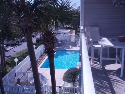 View of the pool from balcony.  There is also a hot tub!!