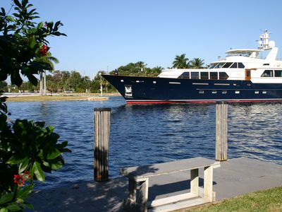 Watch the mega-yachts parade past our dock and patio.