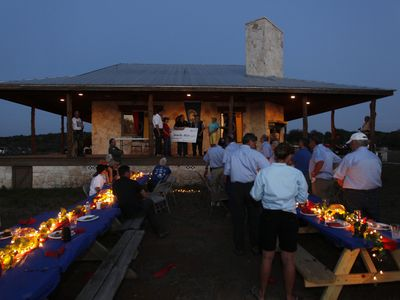 Corporate Event a great dinner you can set 8 picnic tables that sit 50 plus!