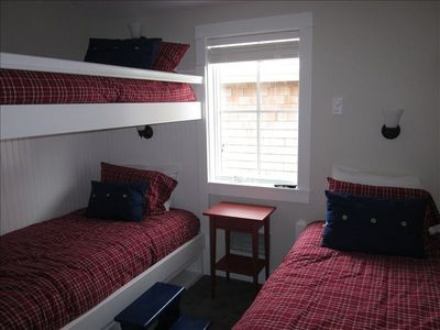 3rd upstairs bedroom with bunk bed and single (and tv w/dvd)