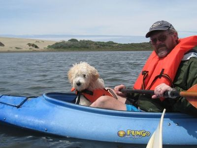 We furnish the kayaks, you furnish the dogs. Bay is just 3 blocks away