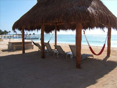 This is your own Private Beach Front Palapa & Table
