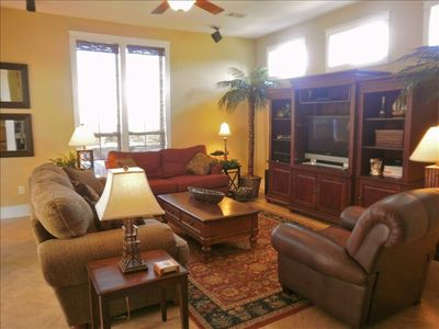 Spacious and comfortable Living Area features plasma TV, cable, surround sound