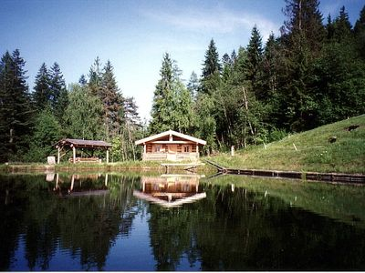 Alp lodge at the entrance to the sportsworld amadé at the fishing pond