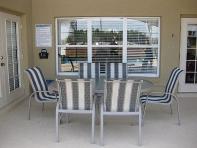 Covered Lanai with Sling Back patio furniture