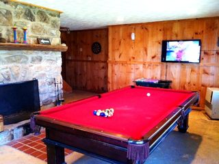 Pool Table, Fire Place and 47 in. TV for Movies in Rec Room