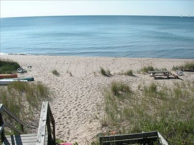 View from the seating platform above the perfect sugar sand Lake Michigan beach!